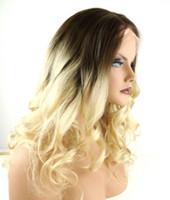 achat en gros de cendres dentelle perruque blonde-Heat Safe Body Wave Layered Dentelle Front Perruque Perruques synthétiques de longueur moyenne avec Ombre # 8/22 Medium Ash Brown à Hight Blonde