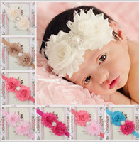 Wholesale 28 Color New Baby Flower Pearl Hair Accessories Baby Hair bands Baby Kids Children Cute Ribbon Headdress S0708