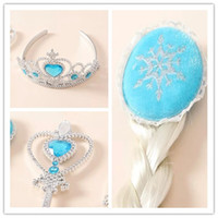 Wholesale Frozen elsa anna synthetic straight clip in hair extension wig hairpiece cabelo periwig crown magic wand cosplay set preorder
