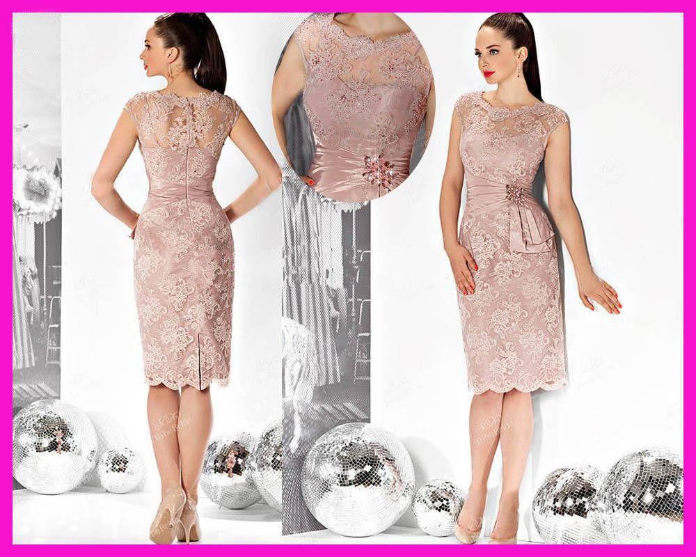 2016 Best Selling Blush Pink Cap Sleve Short Knee Length
