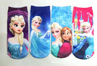 Wholesale New Arrival Four Season Children Sock Frozen Anna Elsa Cartoon Design kids Socks Polyester Cotton Children s Ankle boat StockS