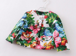 Wholesale Spring Girls Clothes Flowers Printed Outwear Long Sleeve Coat Green Floral Children Classic Blazer Jackets M0231
