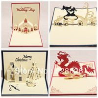 Wholesale Free shippin D greeting card Creative gift Party invitations Happy Holidays theme Exquisite paper sculpture