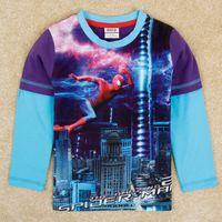 Spring / Autumn cartoon print t-shirt - Spiderman shirts boys long sleeve t shirts nova fashion baby cartoon clohtes kids purple D print tops autumn winter A5181D
