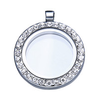 Lockets South American Unisex 36pcs lot 25mm New Round CZ Crystal Floating Charm Glass Living Memory Locket Necklace White K wholesale floating charms Locket DIY jewelry