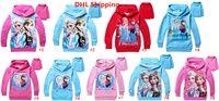 Wholesale Free Ship Patterns Children Cartoon Frozen Princess Elsa Anna Cotton Long Sleeve Sweatshirt Kids Hooded Top Tees Children Leisure Clothing