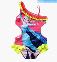 Girl belted bathing suit - 5pcs Froze Elsa Child One Piece Bathing Suit For Girls Summer kids Girls Condole Belt Printing One Piece Girl Dress Swimwear M0232
