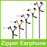 Wholesale Zipper Earphones Headsets In Ear Earbuds Headphones Mic for Mobile Phone MP3 MP4 Tablet PC Free DHL Shipping
