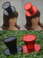 Wholesale A150 Burlesque Gothic Glitter Mini Top Hat Party Church Millinery Hairclips