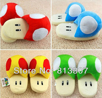 Wholesale Super Mario mushroom slippers color mixed Green red gold blue mushroom slippers cartoon shoes pair