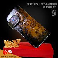 Men brocade - Hong Kong OLG YAT Vintage National style New design Brocade carp handmade carving leather wallets long hand bag multi function clutch purse