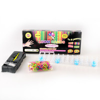 Cheap Rainbow loom Kit For KIds DIY Kit 1PCS=1 hook 25 clips 600 mix colored rubber bands Various colors DHL freeship