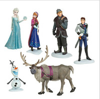 Wholesale New Fashion Frozen Anna Elsa Hans Kristoff Sven Olaf PVC Action Figures Toys Classic Hot Sale A0663
