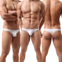 Wholesale Sexy Men s Thongs Mesh Hole Thongs Panties Breath Free Shorts Low Rise G string Briefs Comfy Underwear For Shorts Men Underpants
