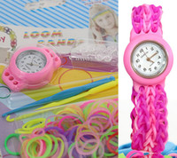 Cheap Children Loom Watches DIY Knitting Braided Rainbow Kit Rubber Loom Bands Self-made Silicone Bracelet Craft Tools Watch+Rubber+Clip+Hook