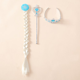 Wholesale New Frozen Accessories Elsa Imperial crown wig magic wand sets Children s Hair Accessories girls Hair band A4303