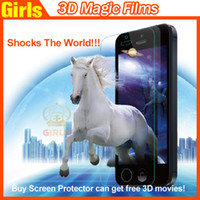 For Apple iPhone Front  Tongli 3D Magic Films Screen Protector can Get Free 3D Movies Enjoy 3D Effect Any time and Any Where For Iphone4 iphone5 Ipad Air Series