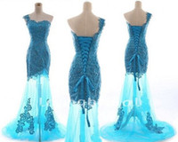 blue corset - Ball Gowns with Corset Back One Shoulder Beaded Appliques See Through Brush Train Ice Blue Tulle Cheap Mermaid Prom Formal Evening Dresses