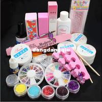 UV Gel Nail Art Set Yes Set & Kit Wholesale-Full Acrylic Glitter Powder Glue File French Nail Art UV Gel Tips Kit Set #168 free shipping407
