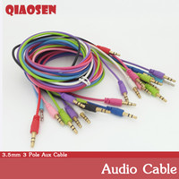Wholesale Aux Audio Cable mm Flat Noodles Audio for cellphone earphone mp4 With Retail Package By DHL