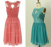 Wholesale 2014 low price A line Coral dark green Lace homecoming dresses Crew Neck Sleeveless Chiffon Short prom dress formal Bridesmaid Gowns CPS033