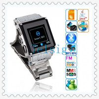 Wholesale unlocked waterproof wrist watch cell phone quad band stainless steel GSM multi language with M spy camera touchscreen bluetooth