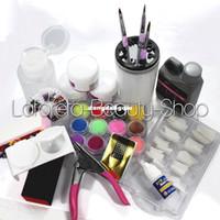 UV Gel Nail Art Set Yes Set & Kit Wholesale-ACRYLIC LIQUID POWDER Glue File False FRENCH NAIL ART TIPS KIT SET Salon Tools C HB-NailArt01-02set407