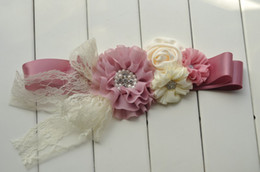 Dusty pink Ivory Baby Girl Sash Flowergirl Sash Belt Wedding Sash Photography Props 10pcs lot