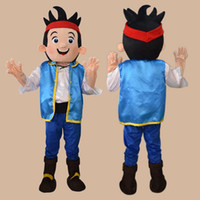 jake and the neverland pirates - Jake Mascot Costume Cartoon Character Adult Size Jake and the Neverland Pirates Christmas Party Clothing Drop Shipping