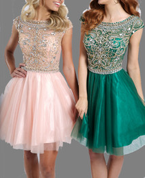Wholesale New Arrival Crystal Cocktail Dresses Beads A Line Sheet Scoop Neck Zip Back Short Prom Gowns Homecoming Dresses Custom Made