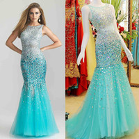 Wholesale Fashion Custom Made Prom Dress Stunning Tulle See Through Sheer Neck Blink Sequins and Rhinestones Sexy Backless Mermaid Evening Dresses