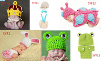 Unisex Summer Newborn Hat 6pcs Newborn baby photography props Photography Hats Shorts Sets Knitted Photo Props Crochet 0-6 Months,Free Shipping