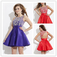 Reference Images Taffeta Crew Cheap 2014 Sexy Purple Red Taffeta Plus Size Short Homecoming Dresses Open Back Cocktail Dress A-Line Crew Mini Prom Gowns 0708