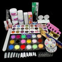 UV Gel Nail Art Set Yes Set & Kit Wholesale-Free Shipping Pro Full Acrylic Glitter Powder Glue French Nail Art Brush Kit Set,HB-NailArt01-11set407