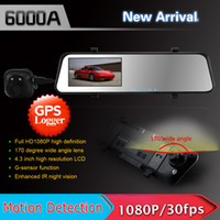 Cheap 6000A Car DVR Rearview Mirror Camera Recorder Dual Lens 4.3' TFT LCD HD 1920x1080p Rear view camera 720P with G-sensor,IR ,GPS(optional)