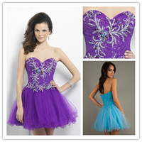 Reference Images short sparkly prom dresses - Sweetheart Sleeveless Beading Homecoming Dress Purple Blue Short Sparkly Prom Dress Sexy Party Gown