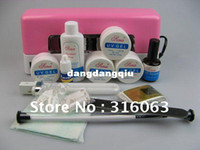 Wholesale Full Set UV Gel Kit Nail Pen Topcoat Cleanser W Pink UV Gel Curing Lamp With A Small Light NA135