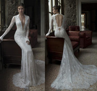 Trumpet/Mermaid Reference Images V-Neck 2014 New Arrival Berta Sheath Wedding Dresses Bridal Gown With Deep V-Neck Sheer Long Sleeves Backless Lace Beads Chapel Train