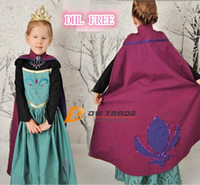 Wholesale DHL FREE pre order girls Frozen Anna costume princess dress cartoon summer lace dresses with a cloak baby kids party clothes J070803