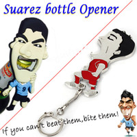 Aluminum Alloy beer brazil - The Suarez Beer Wine Metal Bottle Opener Brazil World Cup Souvenir Aluminium Alloy Keychain Kitchen Tin Can Opener Bite Gifts Souvenir