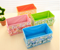 Wholesale Hot sale small Floral pattern folding cosmetic storage box desktop oddments tray storage box cm cm cm size colors free shippi