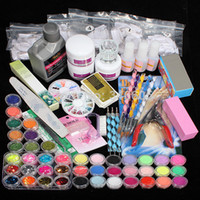 Wholesale Pro Nail Art UV Gel Kits Tools Acrylic Powder Liquid Brush Glitter Clipper Primer File Tips Set407