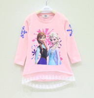 Girl Spring / Autumn Standard Long Sleeve Frozen Children T Shirt 2014 Fall New Arrival Cartoon Printing Baby Girl Frozen Tshirts Kids Topwear Child Clothing GX600