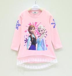 Wholesale Long Sleeve Ice Snow Children T Shirt Fall New Arrival Cartoon Printing Baby Girl Princess Tshirts Kids Topwear Child Clothing GX600