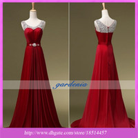 Wholesale Real Photo Vintage Wine Beaded Evening Dresses Scoop Sleeveless with Crystal Sash and Draped Sweep Train Taffeta Dark Red Party Prom Dresses