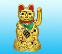 Carved article cat - Gold Maneki Neko Plastic Electric Waving Lucky Cat Feng Shui Lucky Money Cat Maneki Neko Cartoon Fortune cat Car furnishing articles