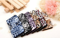 For Apple iPhone Leather  Wholesale - Original Popular Leopard Print Flip Leather Case Cover for iPhone 4 4s 5 5S Folio Folder Protective Cases