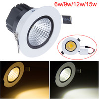 top choice 6W 9W 12W 15W COB Recessed white led downlights c...