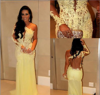 One-Shoulder best dress celebrity - 2016 Best Selling Lace Evening Dresses Yellow Appliqued Single Long Sleeves Sheer Back Sheath Floor Length Tulle Celebrity Prom Gowns