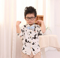 Wholesale 2014 Children Blouse New Style Butterflies Pattern Long Sleeve Pocket Child Clothing High Quality Shirts Kid Spring Gentleman Top Wear J0632